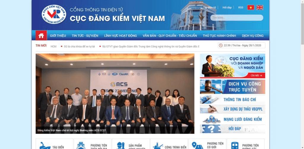Trang web của Cục Đăng Kiểm Việt Nam